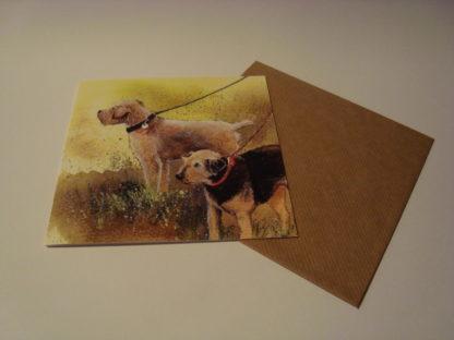 Wenskaart terriers Alex Clark 14x14 enveloppe